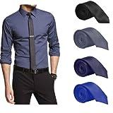 Set of 4 Slim Satin Tie for Men - Formal, Party Wear, Birthday Gifts. Black, Grey, Navy Blue, Royal Blue