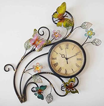 Metal Wall Art Wall Clock Butterfly Flower Scene Amazoncouk