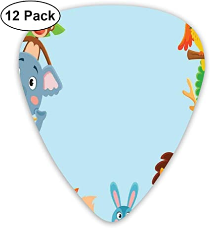 Guitar Picks 12-Pack,Cute Jungle Cartoon Animals Parrot Bird Bunny Fox Giraffe Monkey Deer Antler Lion: Amazon.es: Instrumentos musicales