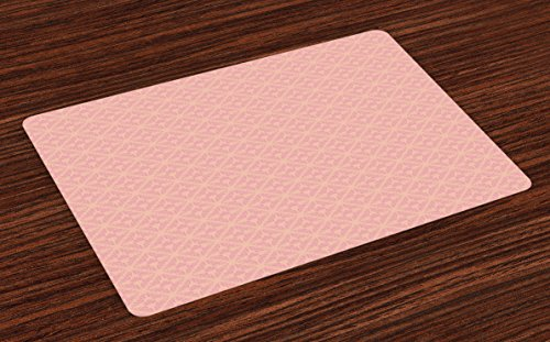 Ambesonne Peach Place Mats Set of 4, Abstract Background with Soft Color Palette and a Banner Wedding Inspirations, Washable Fabric Placemats for Dining Room Kitchen Table Decor, Peach -