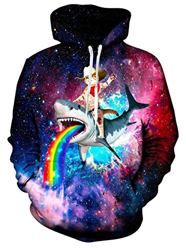TUONROAD 3D Long Sleeve Hoodies Tshirt for Men Women Guys Captain Cat Coloeful Rainbow Shark Whale Turquoise Purple Galaxy Space Athletic Volleyball Basketball Pullover Sweatshirts with Big Pocket