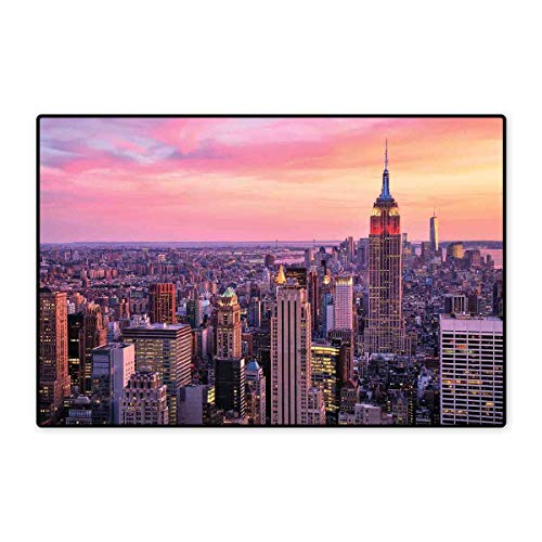 "Cityscape Door Mat Outside New York City Midtown with Empire State Building Sunset Business Center Rooftop Photo Floor Mat Pattern 32""x48"" Peach"