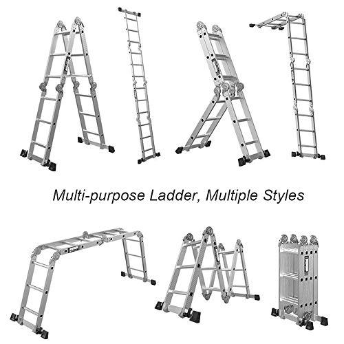 DlandHome 15.5FT Folding Ladder Multi Purpose Aluminium Folding Step Ladder Scaffold Ladder 7 in 1 Step EN131 Certified Extension Ladder