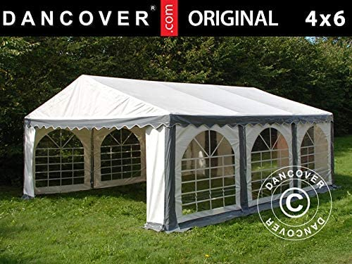 Dancover Carpa para Fiestas Carpa Eventos Original 4x6m PVC, Gris/Blanco: Amazon.es: Jardín