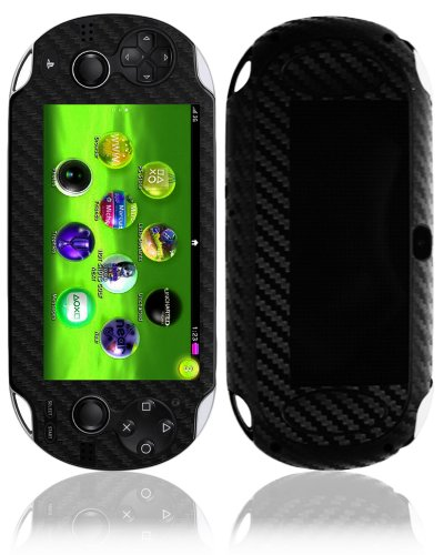 a Wifi Screen Protector + Carbon Fiber Full Body, Skinomi TechSkin Carbon Fiber Skin for Sony Playstation Vita Wifi with Anti-Bubble Clear Film Screen ()