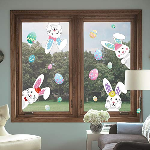 Cartoon Easter Bunnies Wall Decals Easter Eggs Wall Stickers, Lovely Easter Sticker Baby Room Decoration, Fridge Window Cling Decals Easter Home Decor(33 pcs) by DCTOP (Image #3)