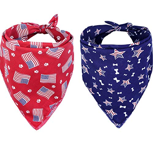 Lamphyface 2Pcs Dog Bandanas Bibs Scarfs for 4th of July Independence Day American Flag for Pet Dog