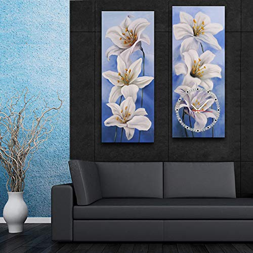 HSRG 2 Piece Wall Art Clock Flower Painting On Canvas Modern Print Wall Picture for Living Room Bedroom Wall Decor by HSRG (Image #2)