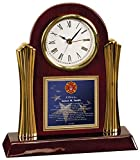 Personalized Firefighter Poetry Gift Clock for Fireman Cherry Wood Clock with Gold Accents Desk Clock Fire Fighter Poem Present