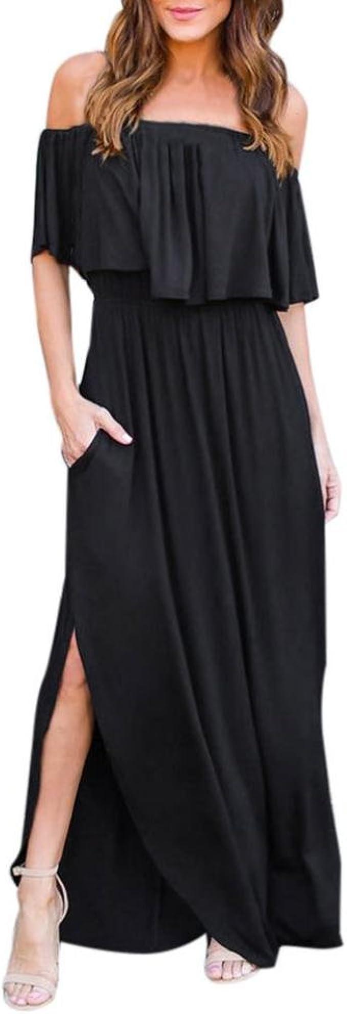 Longra Sommerkleider Damen Vintage Boho Maxikleid Off-Shoulder