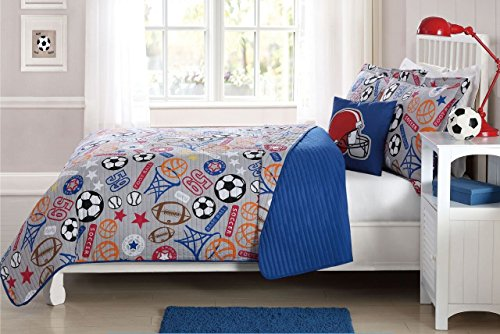Elegant Home Sports Soccer Football Basketball Baseball Design Fun Colorful Multicolor Grey Blue 4 Piece Quilt Bedspread Bedding Set with Decorative Pillow for Kids / Boys (Full Size)
