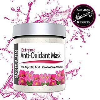Anti-Aging Facial Mask with Exfoliating Clay - Reduce Wrinkles and Face Blemishes - Blackheads and Acne - Premium Deep Pore Cleansing Treatment for All Skin Types - Natural and Organic with Vitamin C