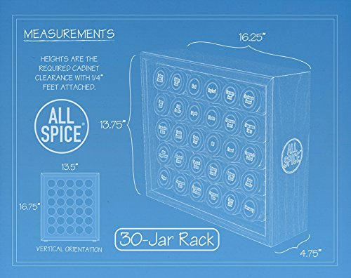 AllSpice Wooden Spice Rack, Includes 30 4oz Jars- Oak by AllSpice (Image #4)