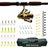TelescopicTravel Spinning Fishing Rods Reel Combos Full Kit Fishing Rod Pole with Reel