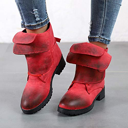 Martin Cowboy Ankle Women Tootu Off Shoes Red Booties Brush Knight Leather np08qC