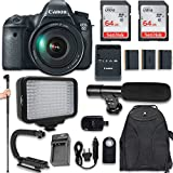 Canon EOS 6D DSLR Camera with Canon EF 24-105mm f/4L IS USM Lens + 120 LED VIDEO LIGHT + Large Monopod + 128GB Memory + Shotgun Microphone + Camera & Flash Grip Handle Stabilizer