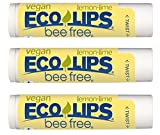 Vegan Lip Balm Lemon Lime By ECO LIPS Flavor 3 Pack - Natural Bee Free with Candelilla Wax, Organic Cocoa Butter & Coconut Oil Lip Care. Soothe & Moisturize Dry, Cracked and Chapped Lips - Made in USA