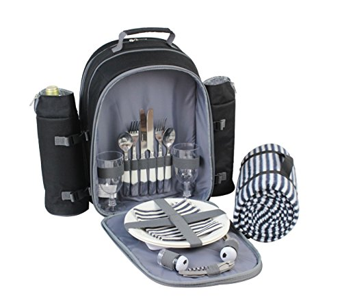 Picnic Backpack for 2 by Mister Alfresco, Stylish Black Color With Insulated Cooler Compartment 2 Detachable Bottle/Wine Holders Fleece Blanket Flatware and Plates. Light-weight, - Dates Fun Day Valentines