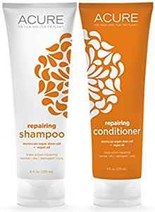 Acure Organics Moroccan Argan Oil and Argan Stem Cell Natural Shampoo and Conditioner Bundle