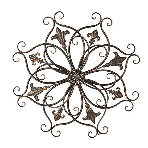 Home'Art Decorative Bronze-Color Iron Wall Hanging Decor Widget, Round Fleur-de-Lis Starburst (Iron Art)