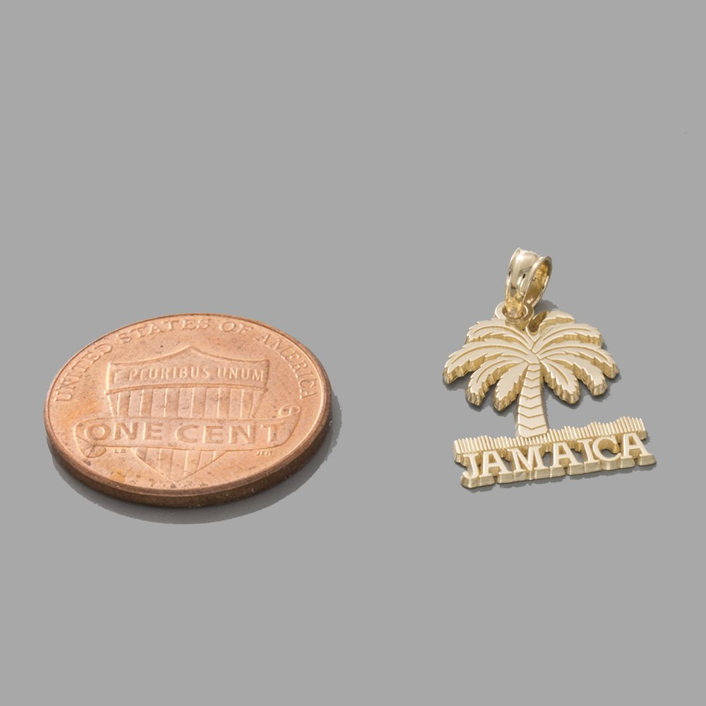 14k Yellow Gold Travel Charm Pendant, Jamaica Under Palm Tree by Million Charms (Image #4)
