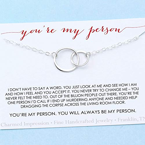 You are My Person • Best Friend Gift • Two Connected Circles Necklace • Sterling Silver • BFF Besties
