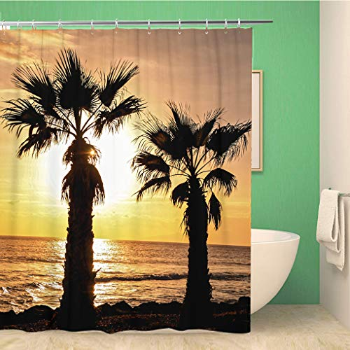 Awowee 72x72 Inches Shower Curtain Palm Tree Silhouette at Sunset in Canary Islands Waterproof Polyester Fabric Bath Bathroom Curtain Set with Hooks