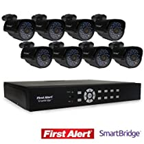 First Alert SmartBridge DVR Video Security System, 8-Channel and 8 Night Vision 560-TVL Cameras (DCA8810-560BB)
