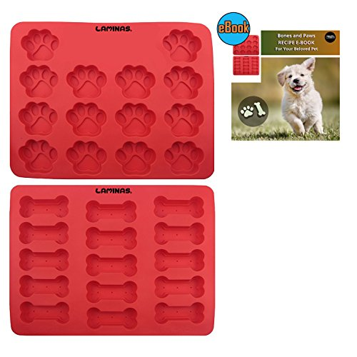 Silicone Dog Tray Mold, 2 Pack Ice Cube Puppy Paws and Bones Shapes, FDA Approved Reusable Bakeware Oven Microwave Freezer Dishwasher Safe for Baking Chocolate Candy, Non stick Muffin Pan, Laminas