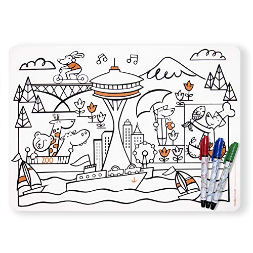 Modern Twist KBSE4 Mark-Mat Seattle + 4 Markers Coloring Placemat, Set
