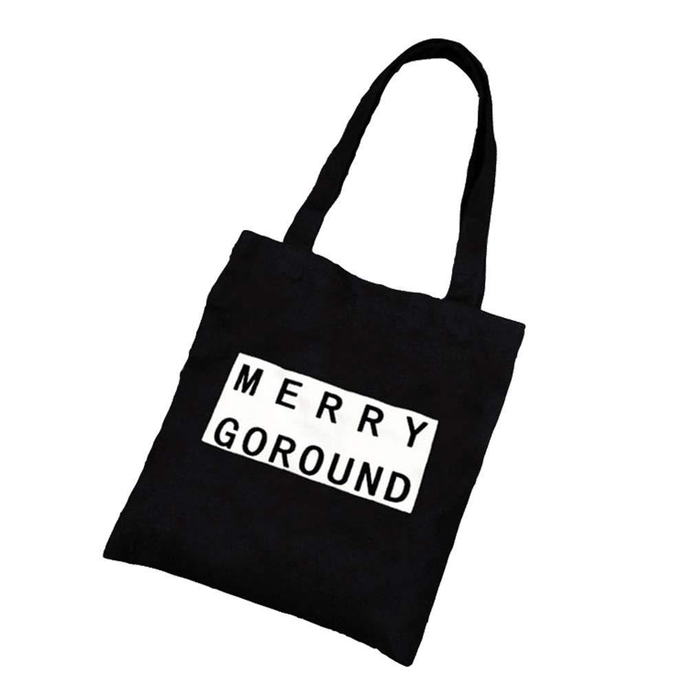 WHXYAA Merry Printed Canvas Bag Shoulder Bag Tote Bag Ladies Shopping Bag(Black) Simple Atmosphere