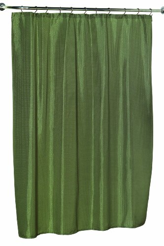 Carnation Home Fashions 100-Percent Polyester Dobby Fabric 70 by 72-Inch Shower Curtain, Standard, Lauren, Sage