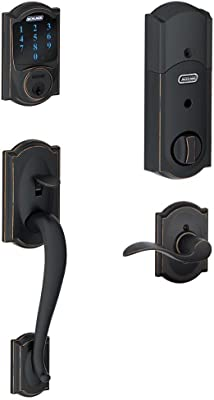 Schlage Connect Camelot Touchscreen Deadbolt with Built-In Alarm and Handleset Grip with Accent Lever, Aged Bronze, FE469NX ACC 716 CAM RH, Works with Alexa