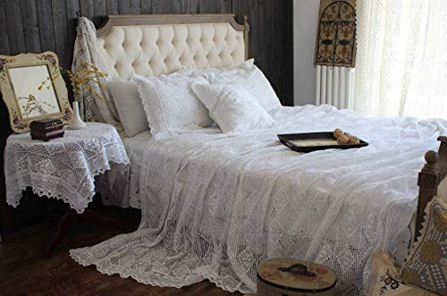 Hughapy Vintage American Cotton Bedding Thread Imitation of Hand Crochet Hook Flower Bed Cover White Lace Bed Spread Blanket Pillowcases Queen 3-Piece ()