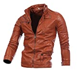 Mysky  Men Autumn&Winter Leather Blouse Zipper Jacket Top Motorcycle Biker Outwear Warm Coat (Brown, XL)