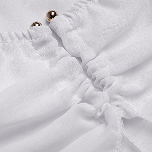 Ai.Moichien Verano Playa De Hombro V Cuello Cárdigan De Color Sólido Chiffon Longo Bikini Traje De Baño Blanco