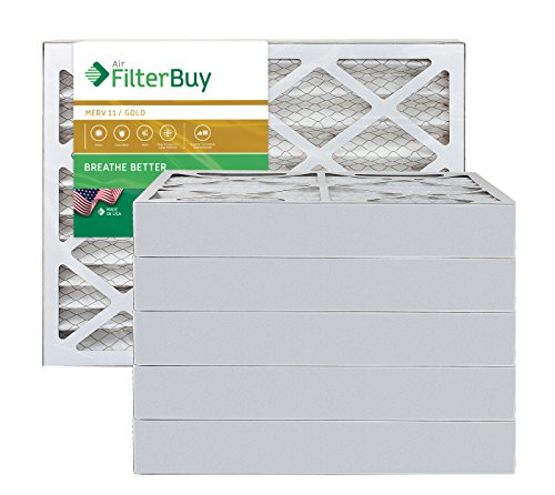 AFB Gold MERV 11 16x21x4 Pleated AC Furnace Air Filter. Pack of 6 Filters. 100% produced in the USA.