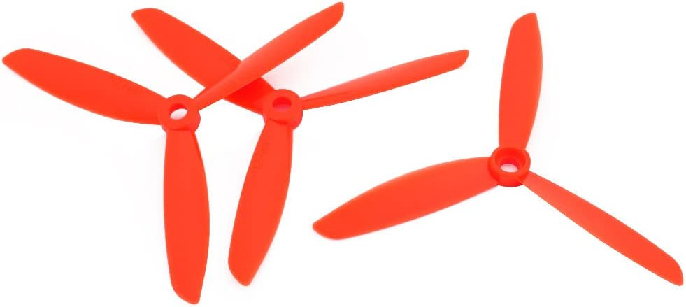 uxcell 3pcs 5 x 4.5 Inches Orange 3-Vanes CW RC Aircraft Propeller w Hole Adapter