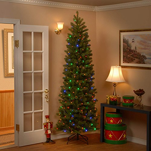 Pre-Lit Nordic Pine Slim Artificial Christmas Tree  Mulit Color LED Lights