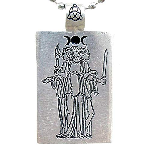 (OhDeal4U Hecate Hekate Hecat Wiccan Triple Goddess Pagan Pewter Pendant Necklace Choker (Silver Iron Ball Chain))