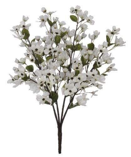 Artificial 24-inch Cream Dogwood Bush (Set of 6)