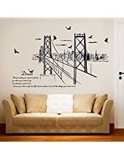 San Francisco Bridge Silhouette Wall With The Living Room Study Office Background Decoration Sticker-141qz