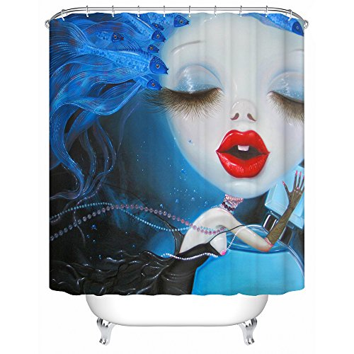 Sea&Cloud Yang Na Oil Painting,Cute Fishes are Kissing The Lovely Big Eyes Girl Red Lips Cartoon Ocean Pattern,Waterproof Mold Resistant,72W X72L,Blue ¡­