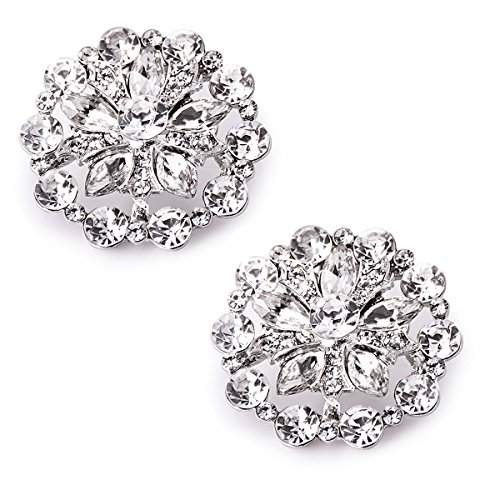 ElegantPark AH01 Fashion Decorative Round Rhinestones Crystal Wedding Party Shoe Clips 2 Pcs Silver