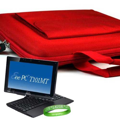 ASUS ** RUBY RED ** Carrying Case Hard Cube Case with Attached Pocket to Contain ASUS Accessories for Asus Eee PC T101MT-EU17-BK 10.1-Inch Convertible Tablet (Black) + Vangoddy Live * Laugh * Love Wrist band