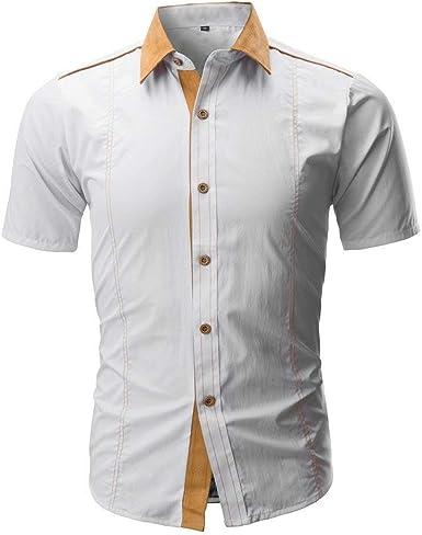 Camisa De Hombre Camiseta Camisa De Verano De Retro Manga Corta Camisa De Corte Slim Camisa