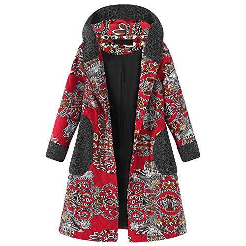 Chaofanjiancai Winter Warm Fleece Coat for Womens Hooded Long Sleeve Vintage Print Thicken Hasp Outwear