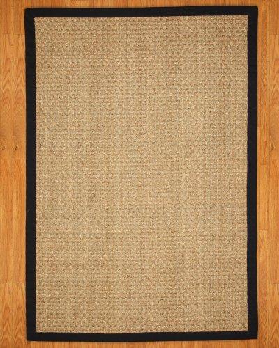 NaturalAreaRugs Optimum Seagrass Rug, w/ FREE Rug Pad (6-Feet by 9-Feet) Black Border (Rug Seagrass Border)