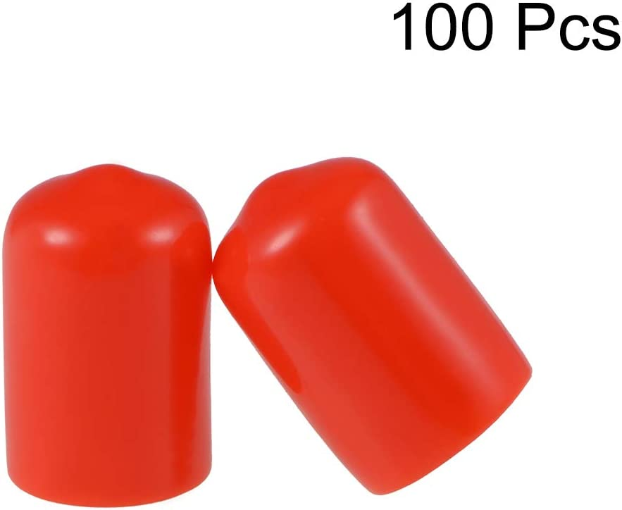 4.5mm uxcell 100pcs Rubber End Caps 3//16 ID Round End Cap Cover Screw Thread Protectors Red