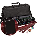 "American Mahjong (Mahjongg, Mah-Jongg) Set with 166 Jet Black Tiles, 4 All-in-One Racks with Detachable Pushers, Accessories, and Soft Leatherette Case, The ""Soft Jet"""